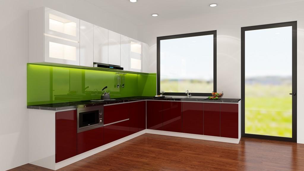 Thi côngtủ bếp acrylic