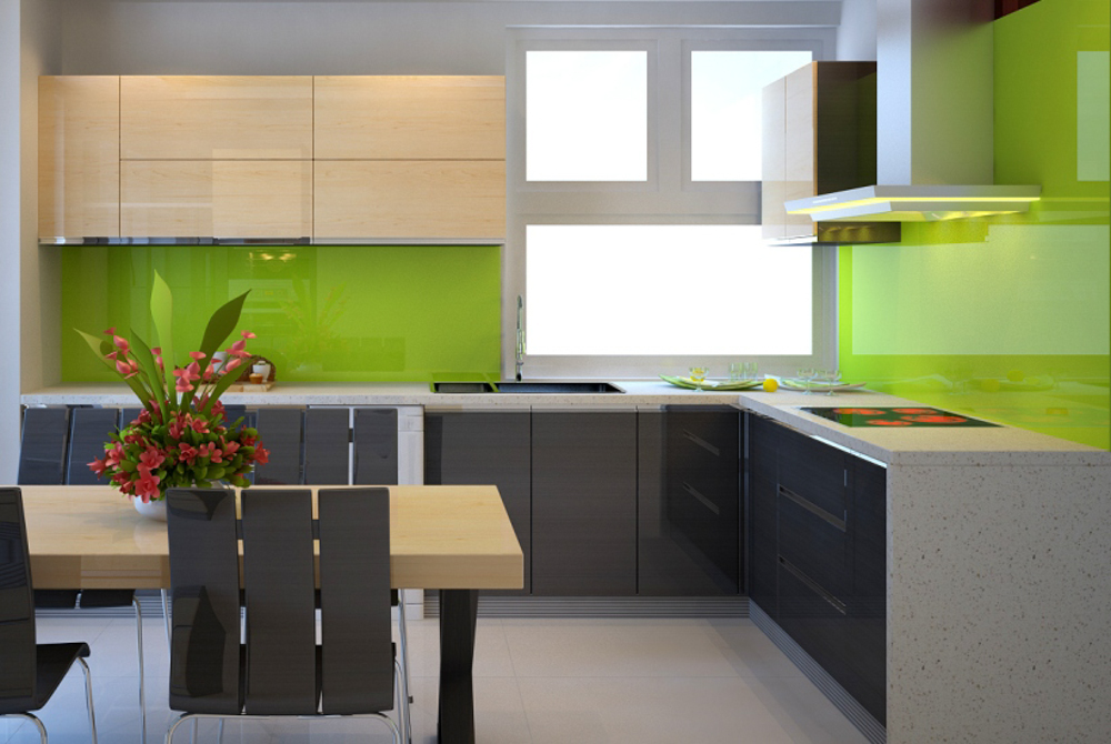 tủ bếp gỗ acrylic đẹp