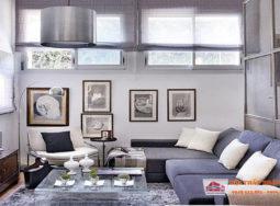 Trang trí chung cư nhỏ với màu xanh lam, xám và bạc