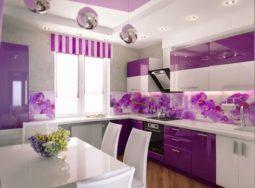 Tủ bếp nhựa Acrylic màu tím lãng mạn