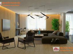 Thiết kế nội thất biệt thự bằng các thanh gỗ