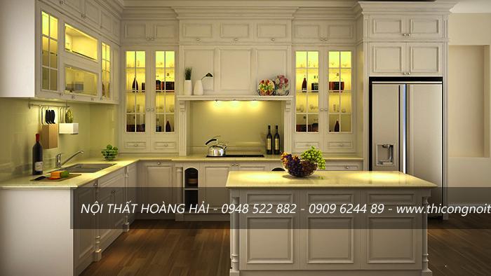 tủ bếp gỗ sồi trắng 01