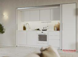 Mẫu tủ bếp chung cư hiện đại màu trắng
