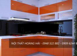 Mẫu tủ bếp Acrylic màu cam