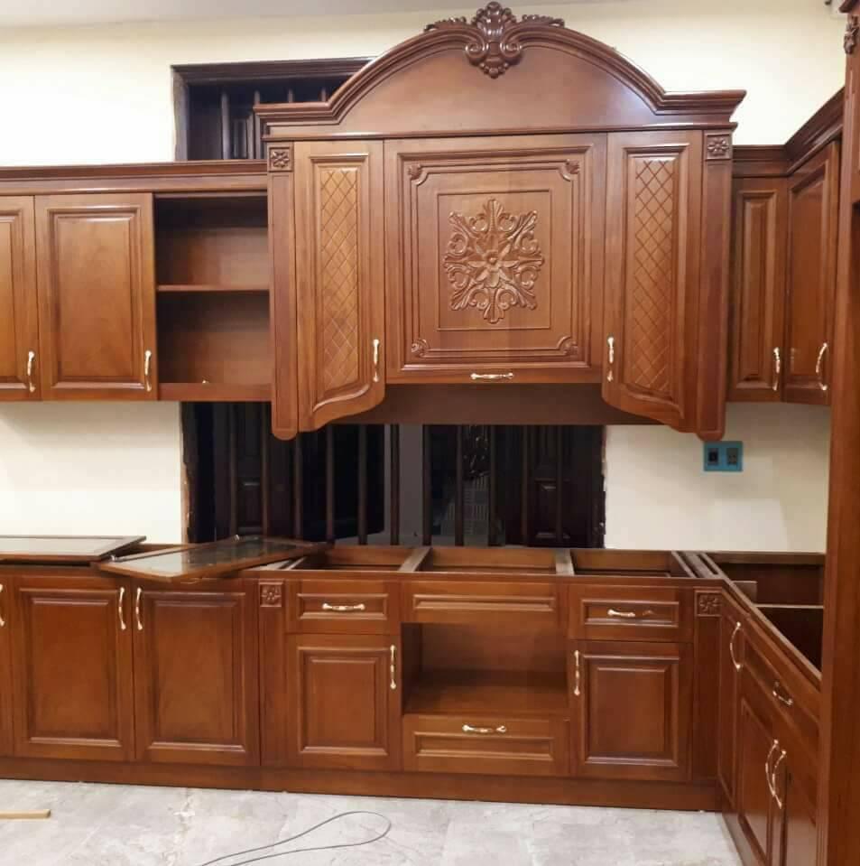 Dự án tủ bếp gỗ gõ đỏ tự nhiên