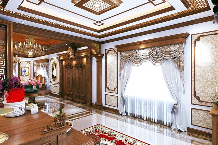 Mẫu phòng khách nội thất biệt thự cổ điển bằng gỗ gõ đỏ