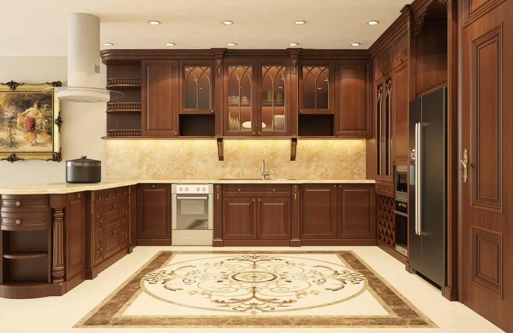 Mẫu tủ bếp gỗ gõ đỏ tự nhiên đẹp