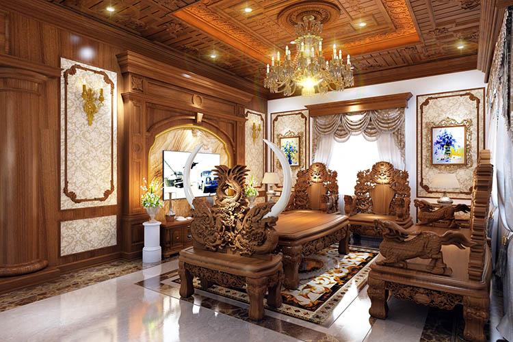 Nội thất phòng khách biệt thự gỗ gõ đỏ