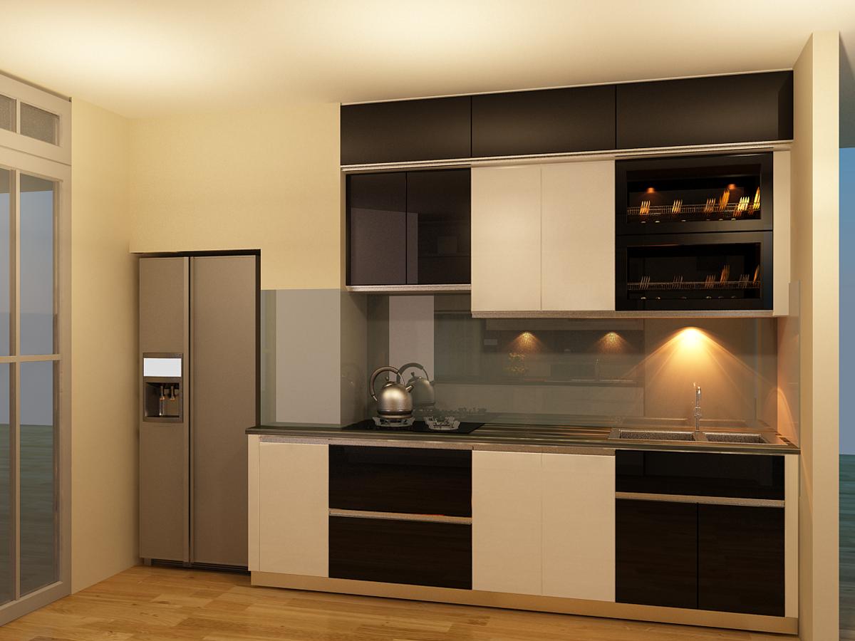 Mẫu tủ bếp gỗ công nghiệp Acrylic trắng đen
