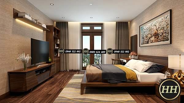 Kệ tivi gỗ óc chó kết hợp với nội thất phòng ngủ