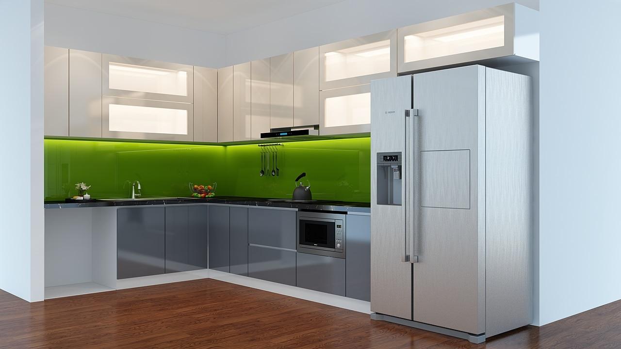 mẫu tủ bếp gỗ công nghiệp acrylic bóng gương