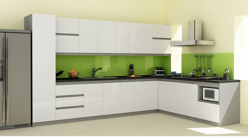 Tủ bếp acrylic màu xanh đẹp