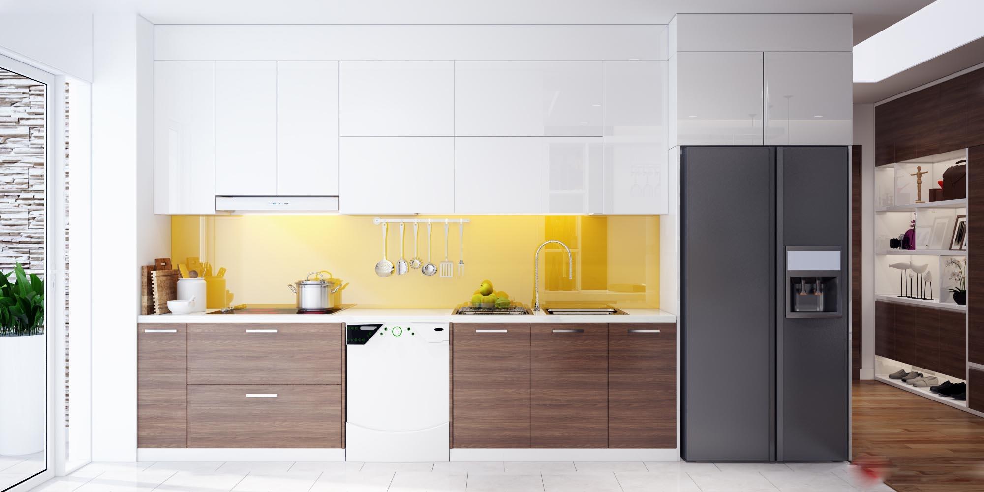 Mẫu tủ bếp acrylic màu vàng cam