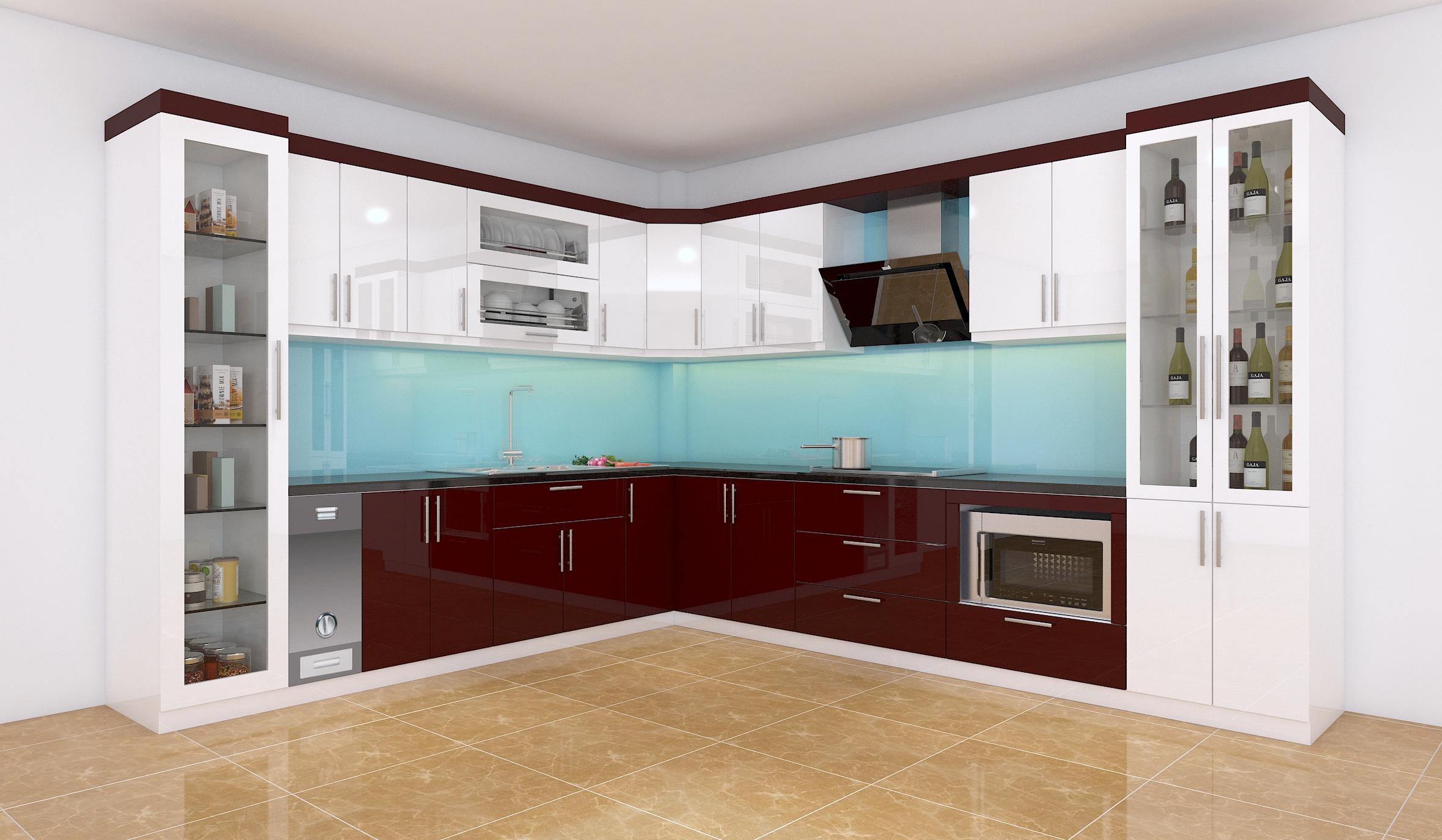 Mẫu tủ bếp acrylic màu xanh lam
