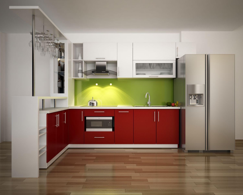 Mẫu tủ bếp acrylic màu xanh đỏ