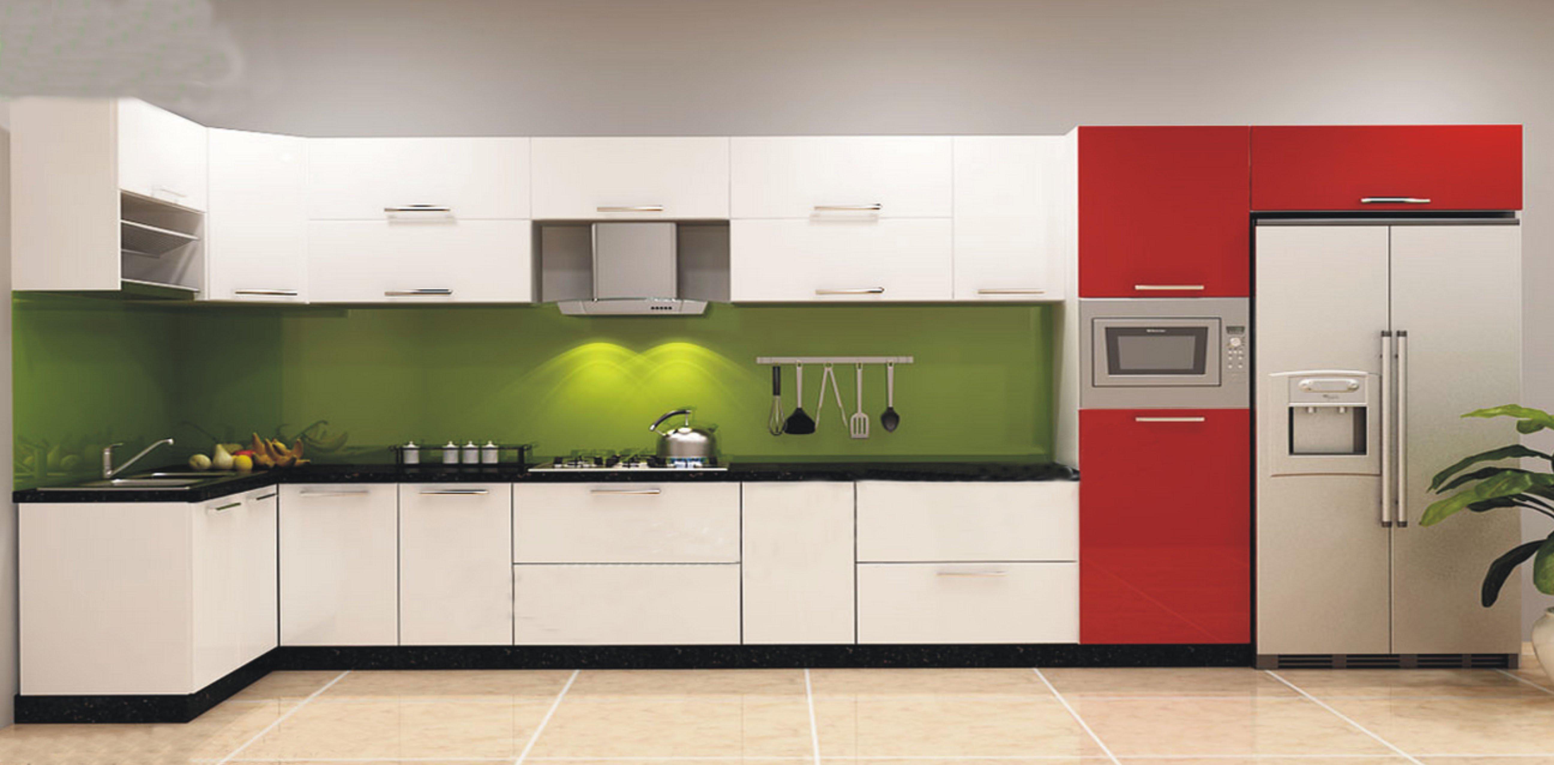 Mẫu tủ bếp acrylic màu xanh trắng