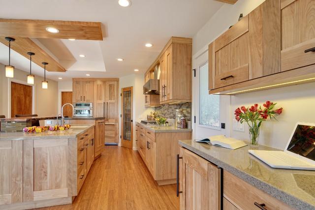 Tủ bếp gỗ sồi mỹ hiện đại