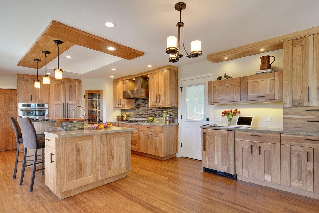 Tủ bếp gỗ sồi mỹ hiện đại đẹp