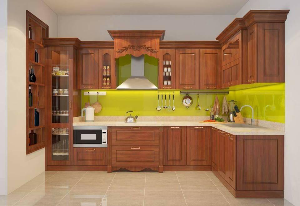Mẫu tủ bếp gỗ dổi đẹp
