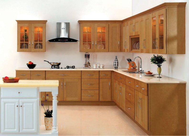 Tủ bếp gỗ dổi dáng chữ L