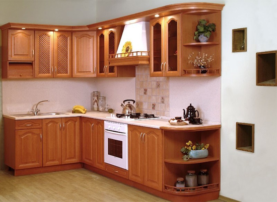 Tủ bếp gỗ đinh hương dáng chữ L