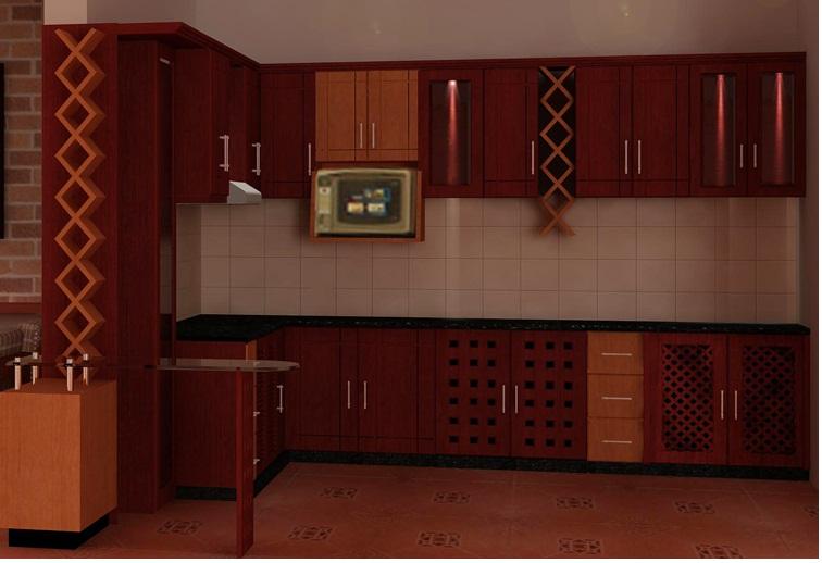 Tủ bếp gỗ hương đỏ đẹp