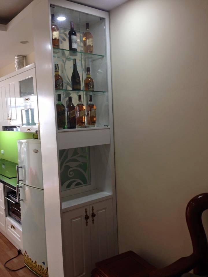 Tủ bếp gỗ sồi kết hợp hdf HH4C Linh Đàm