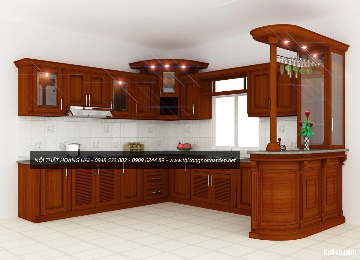 tủ bếp gỗ xoan đào tại Ninh Bình
