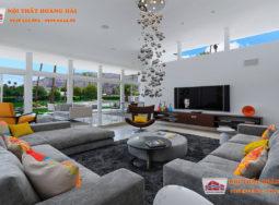 Thiết kế hai phòng khách biệt thự trong nhà và ngoài trời sang trọng