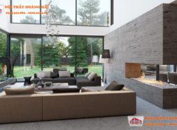 Thiết kế nội thất biệt thự từ gỗ và đá cao cấp