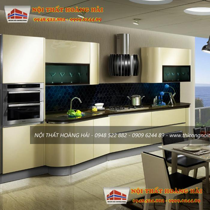 Tủ bếp acrylic có nhiều kiểu dáng và là vật liệu thân thiện với môi trường