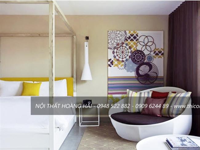Phòng ngủ thiết kế độc lạ cùng ghế sofa