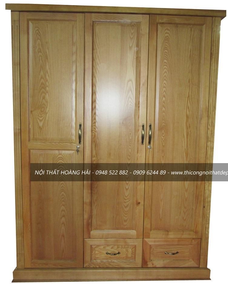 Tủ áo gỗ sồi âm tường