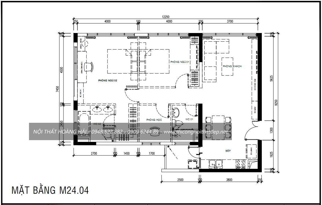 Mặt bằng bố trí công năng nội thất chung cư tại hà nội
