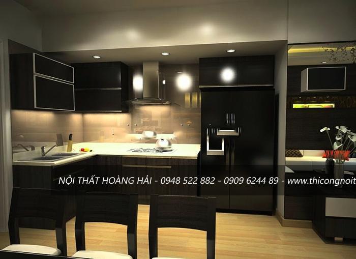 thiết kế tủ bếp gỗ hình chữ L