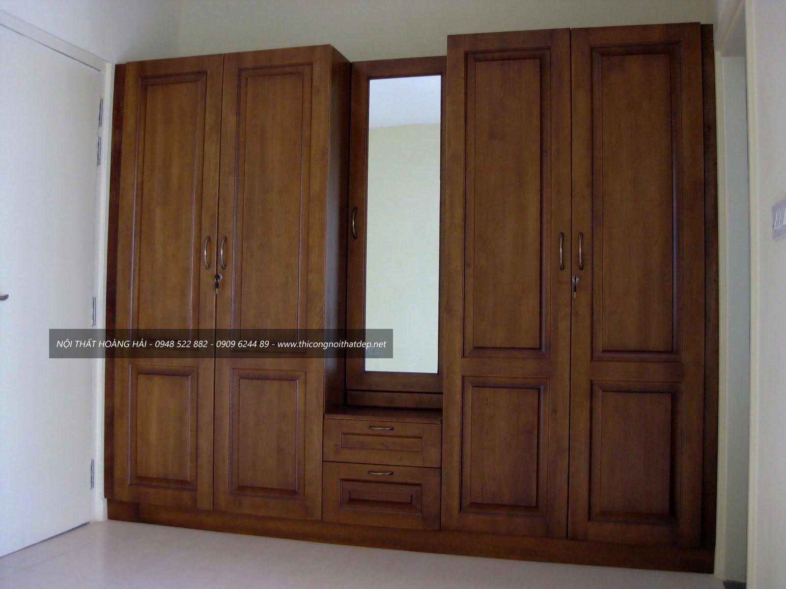 Tủ áo gỗ tự nhiên 3 cánh