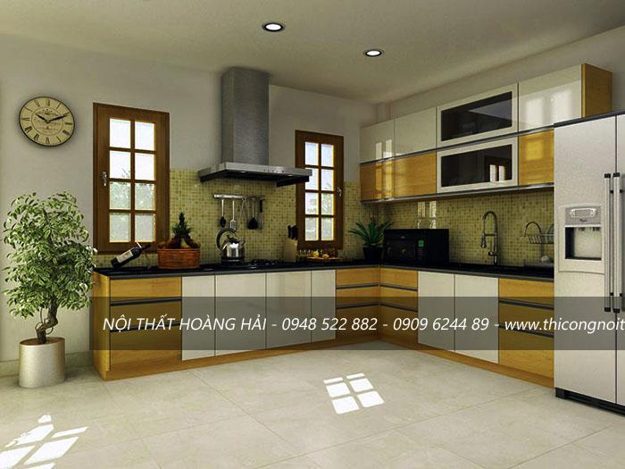 Tủ bếp bằng gỗ công nghiệp tầng 3