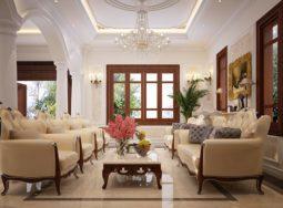 Những thiết kế nội thất phòng khách tân cổ điển đẹp khó chối từ
