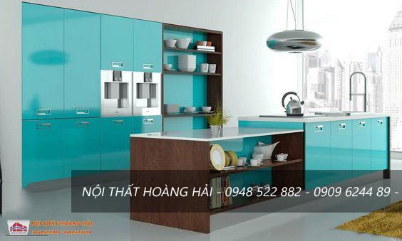 Tủ bếp nhựa Acrylic nhiều màu sắc rực rỡ
