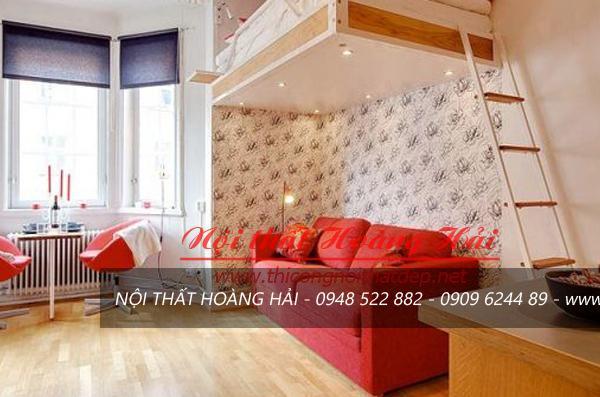 Sử dụng nội thất giường treo tiết kiệm không gian