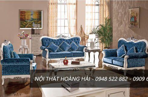 Ghế sofa màu xanh phong cách nội thất tân cổ điển
