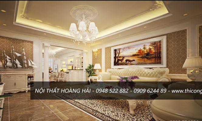 Ghế sofa dài phong cách nội thất tân cổ điển