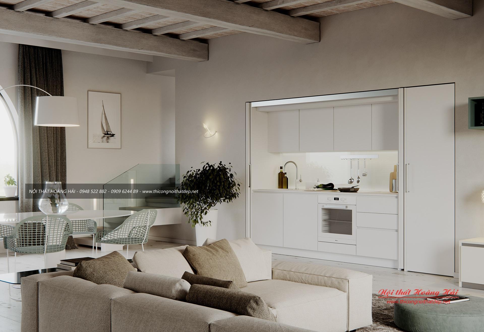 Mẫu tủ bếp hiện đại màu trắng
