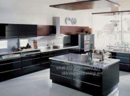 Tủ bếp gỗ Acrylic hiện đại tại Hưng Yên