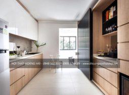 Mẫu tủ bếp Acrylic kết hợp Laminate