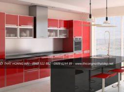 Mẫu tủ bếp Acrylic màu đỏ