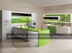 Mẫu tủ bếp Acrylic màu xanh