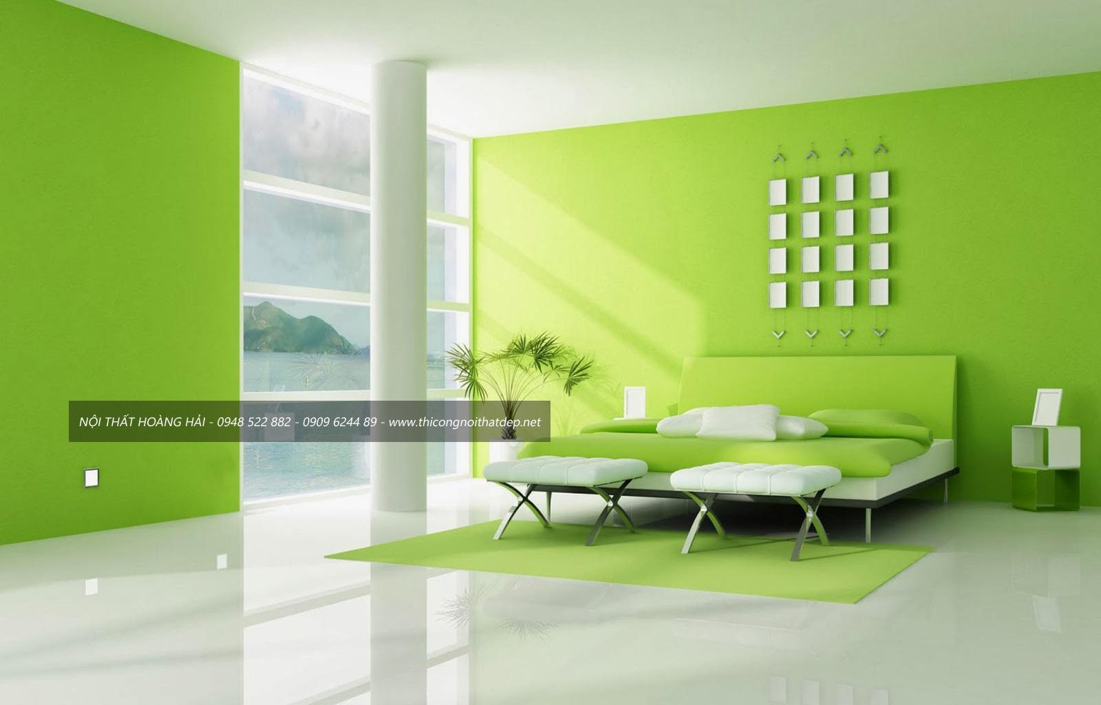 thiết kế nội thất chung cư với không gian xanh mát
