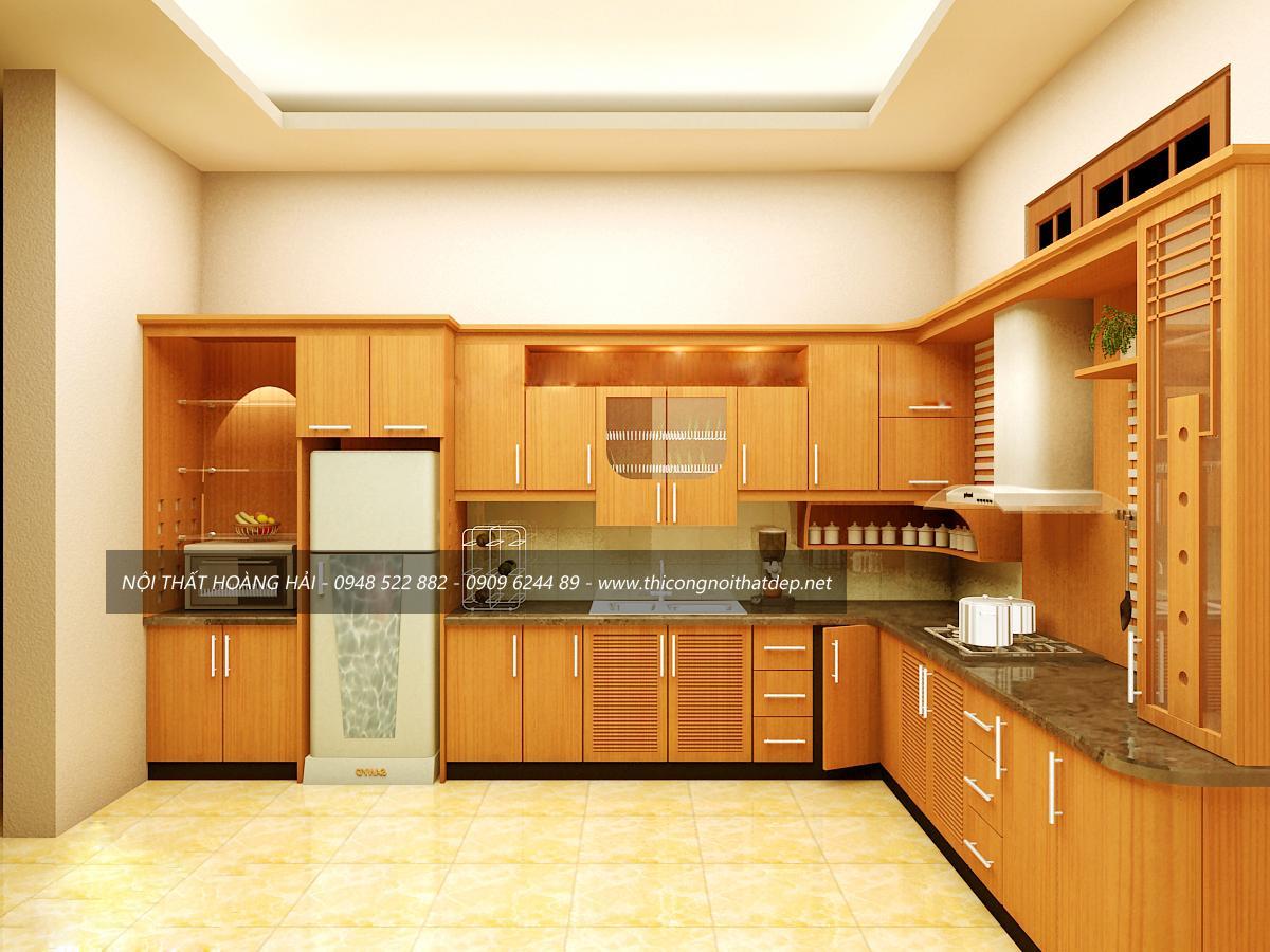 Tủ bếp gỗ công nghiệp veneer dành cho biệt thự đẹp
