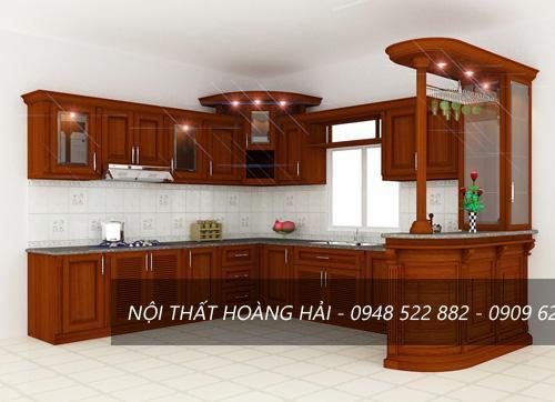 Tủ bếp giáng hương cao cấp cho chung cư